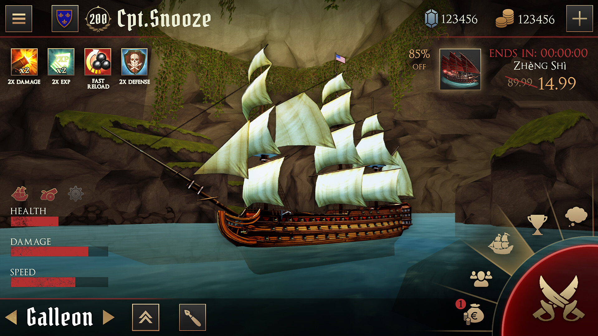 Main Menu/ Pirate lair UI concept for the new Age of Pirates multiplayer game. Most of the icons were placeholders.