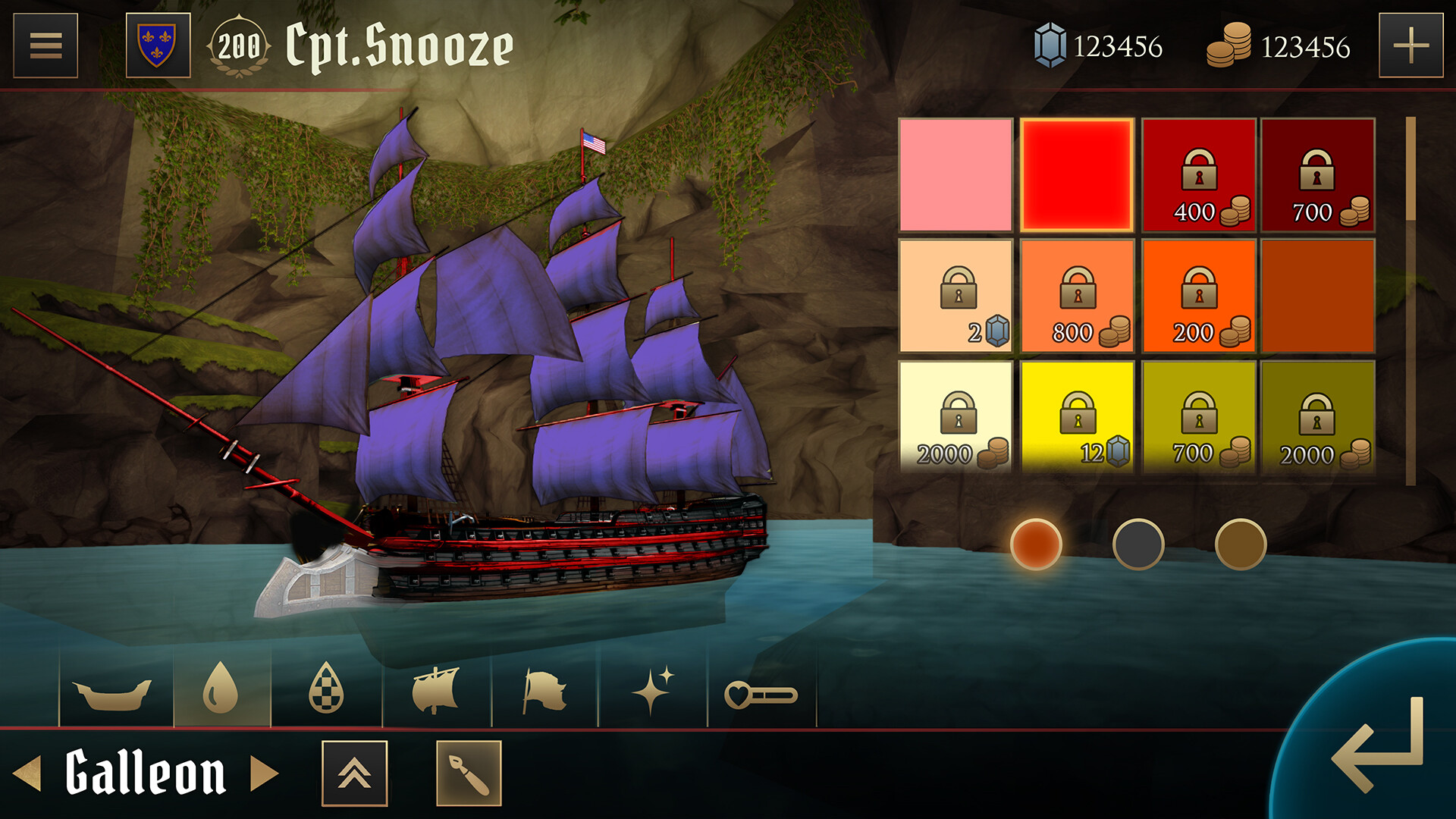 Ship customization UI, colors section. each ship (and its add-ons) would have three areas to assign a color to. Selecting the color slot and pressing a color allowed for a preview on the ship model. pressing it again would equip the color to that slot.