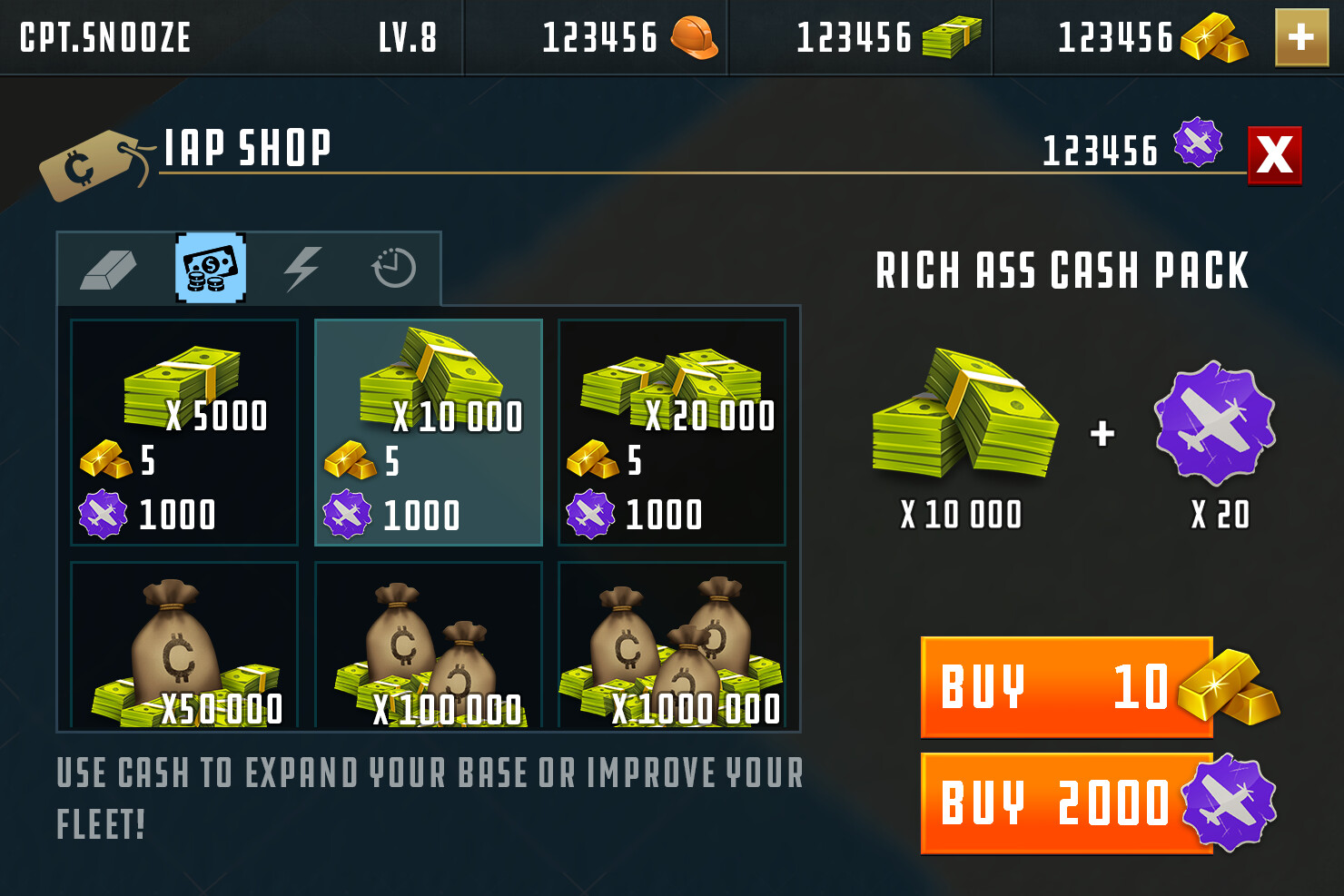 UI concept of the IAP shop.