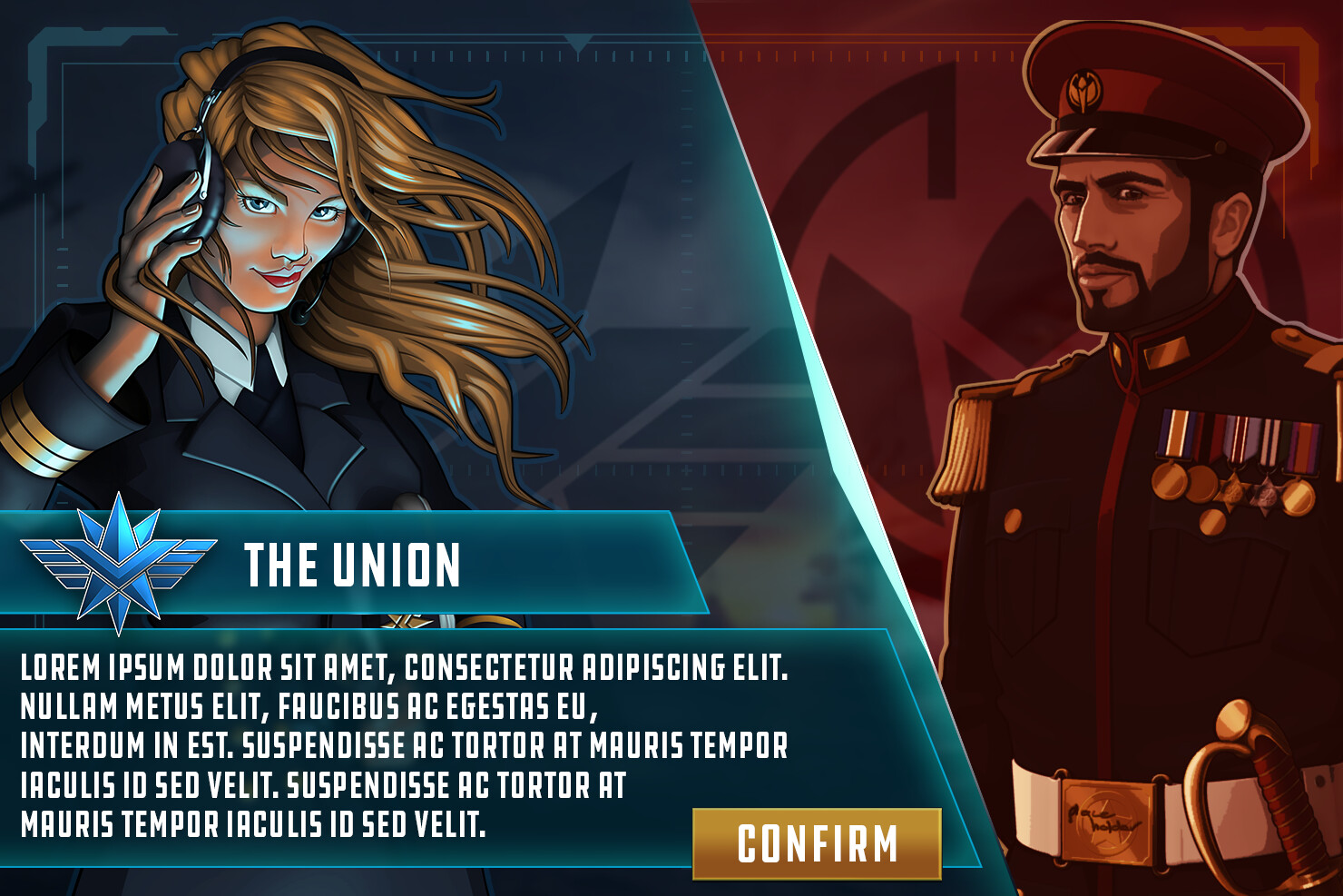 UI concept for the faction selection screen. Faction leader character illustrations done by Anneke Mikkers.