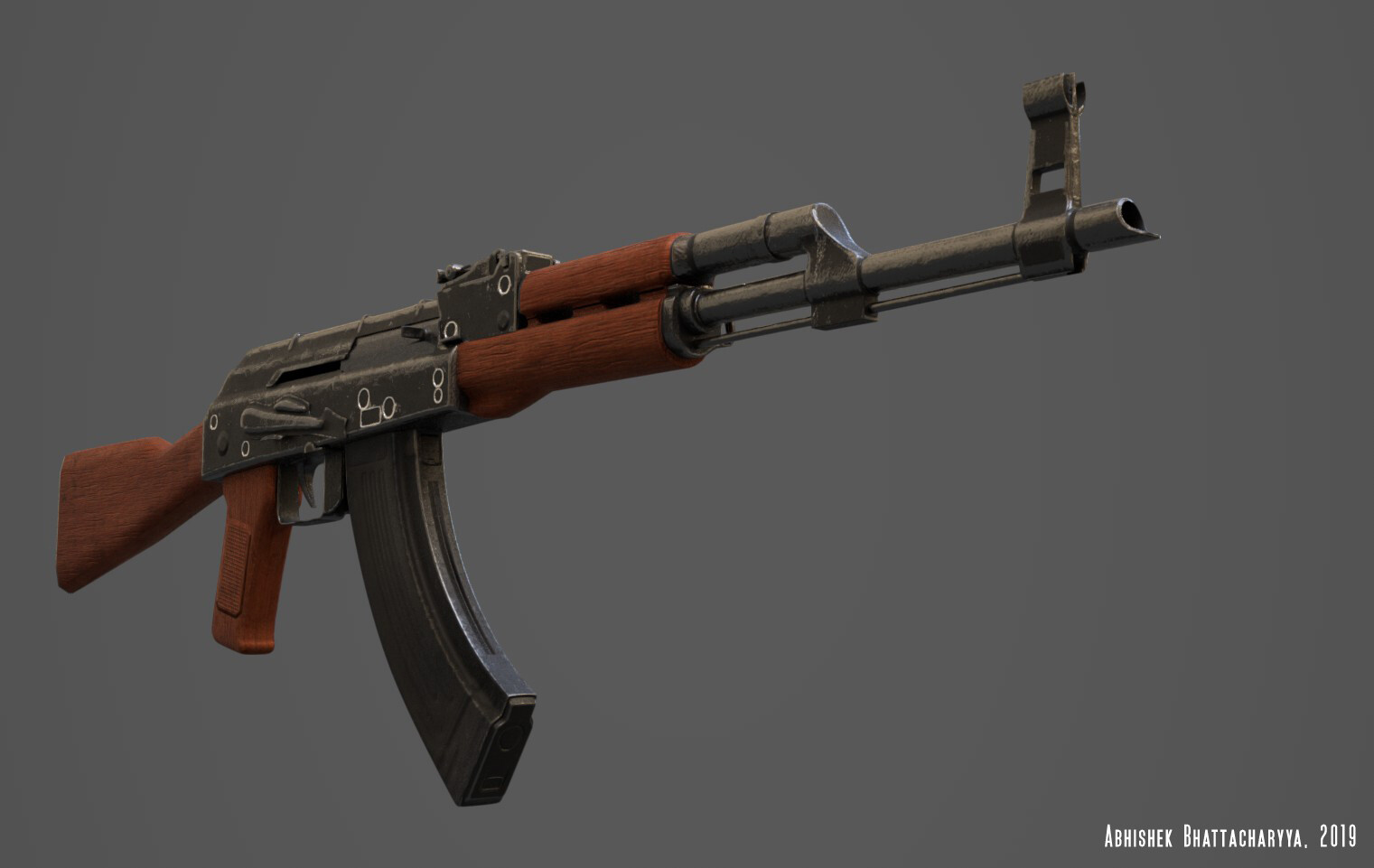 AK-Assault Rifle Front With PBR textures