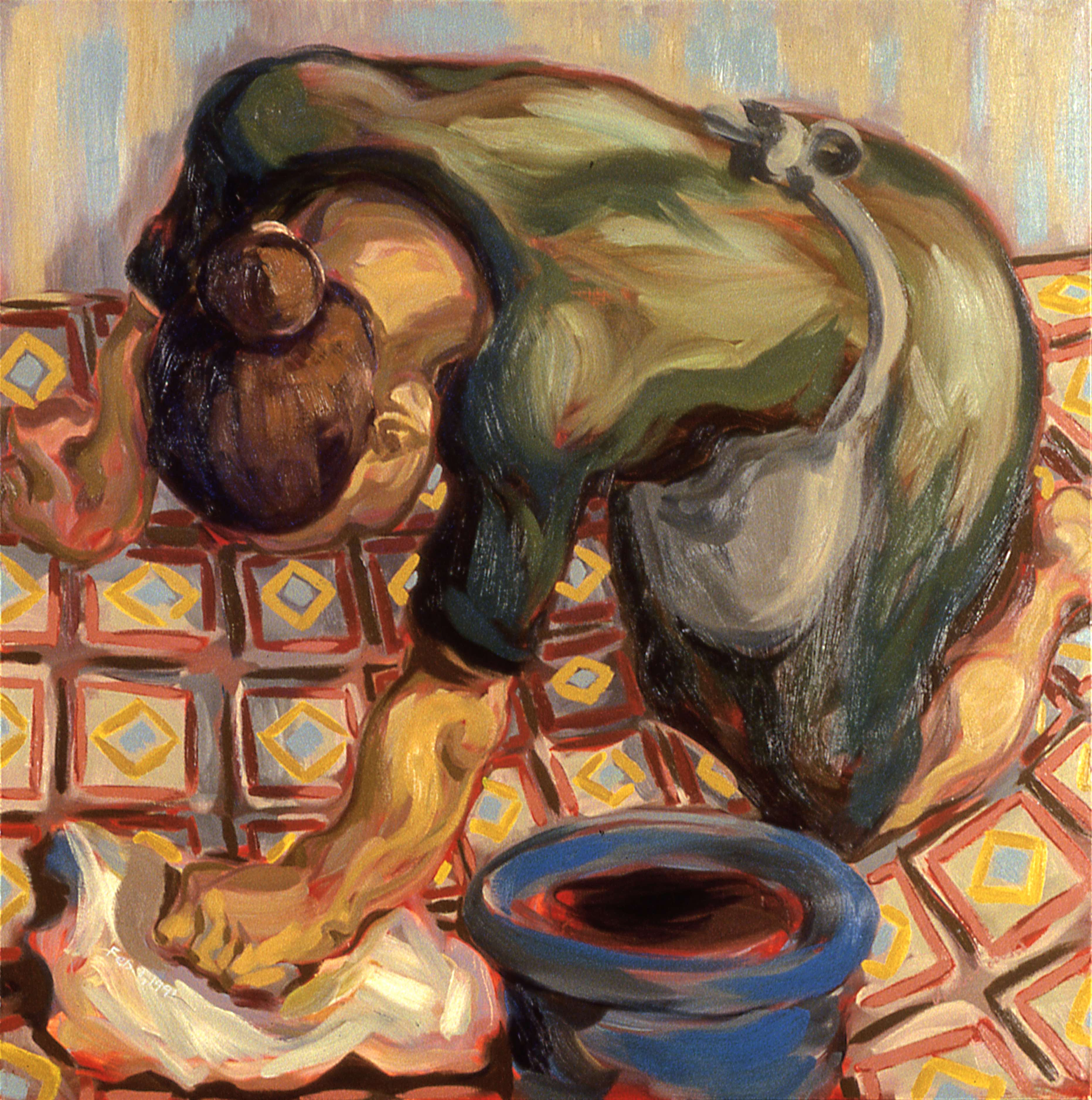 WORK IS THE CONDITION FOR EQUALITY #2, painted by Vince Mancuso in 1991, oil on canvas 4x5 feet