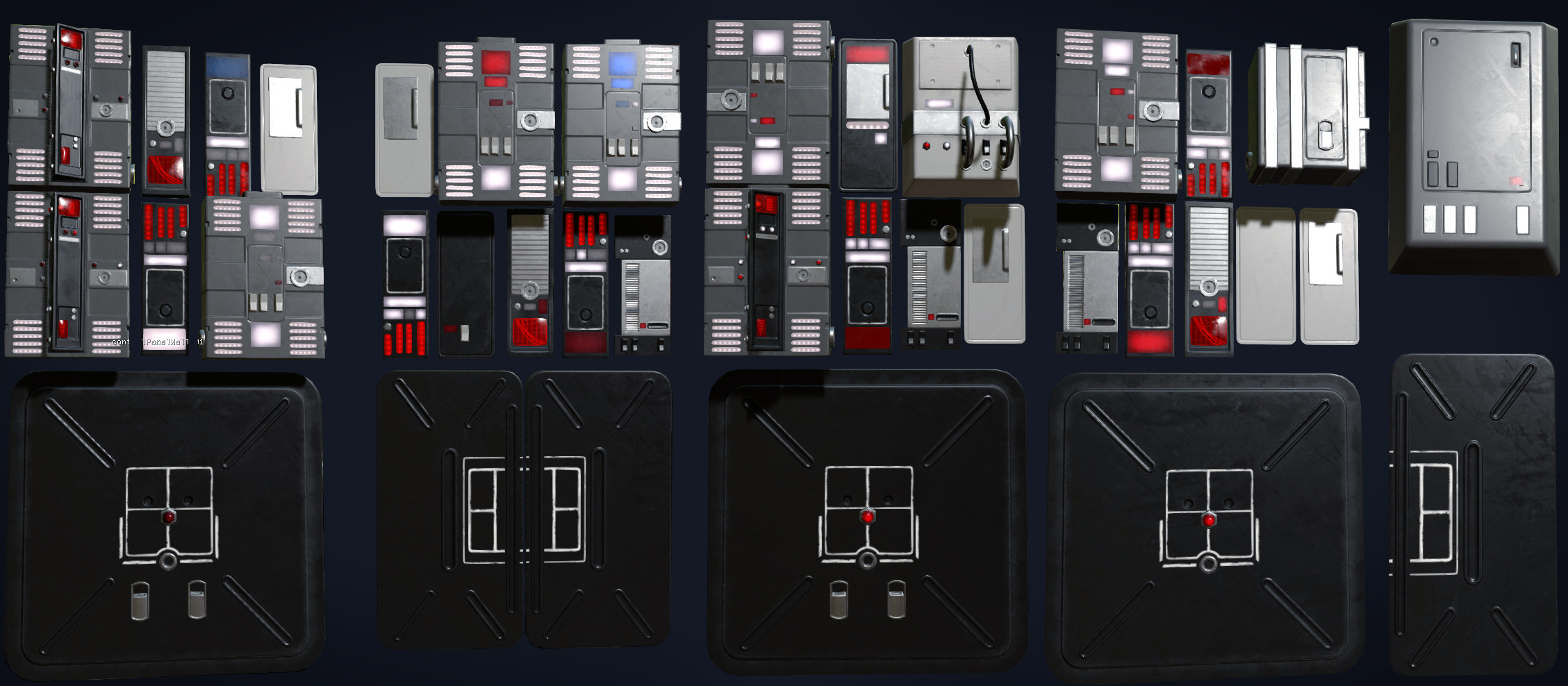 Examples of the kit pieces I made for the computers on the pit walls