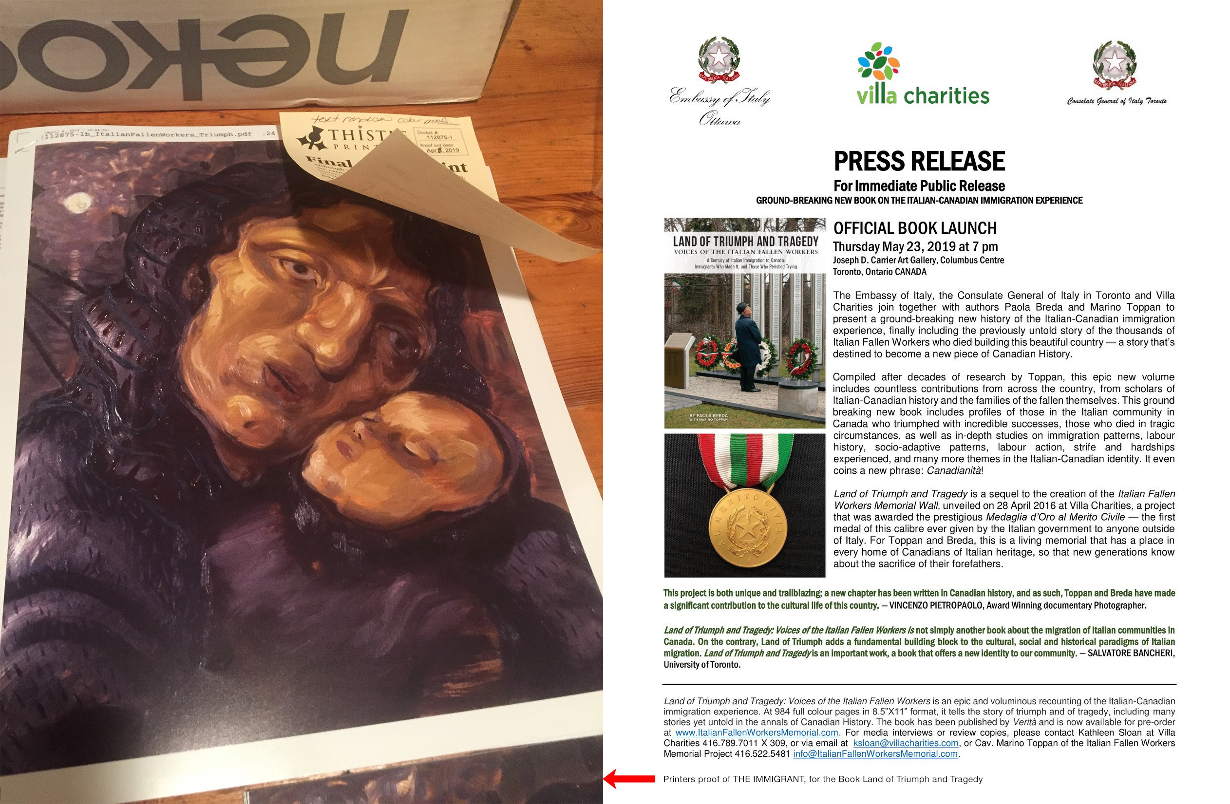 THE IMMIGRANT and other paintings are featured in LAND OF TRIUMPH AND TRAGEDY. A century of italian immigration to Canada: Immigrants who made and those who perished trying. Published in 2019