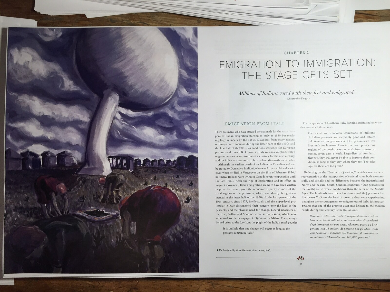 THE CICORIA PICKERS and other paintings are featured in LAND OF TRIUMPH AND TRAGEDY. A century of italian immigration to Canada: Immigrants who made and those who perished trying. Published in 2019