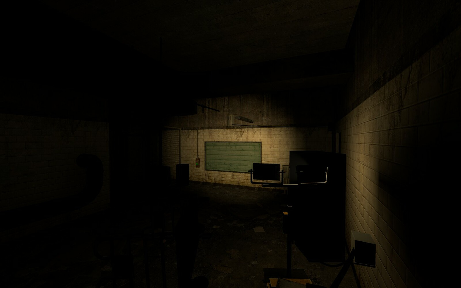 The player interacts with an NPC in this room. A spot light is shining on the window ti highlight its importance to the player.
