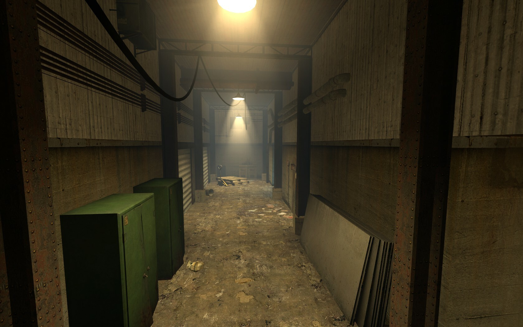 The floor in this corridor is clear as the player needs to move through the area at a fast pace. The props at the end help signal a change of direction for the player.