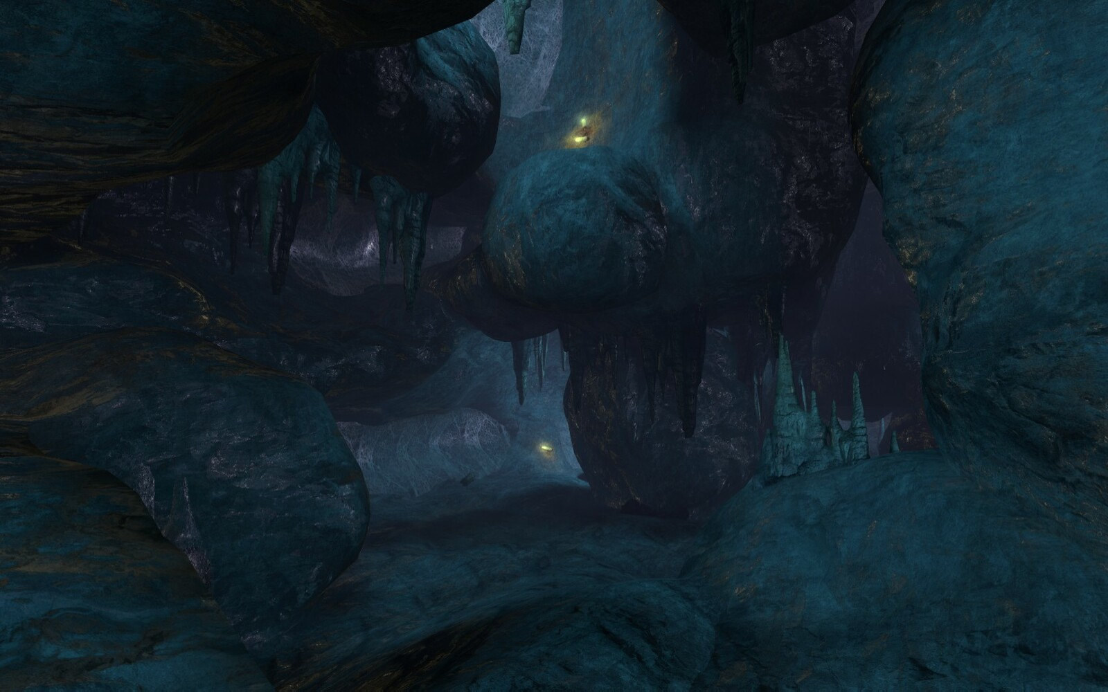 The orange grub vugs are used to signal to the player a point of interest. This is because of their noise and there orange glow.