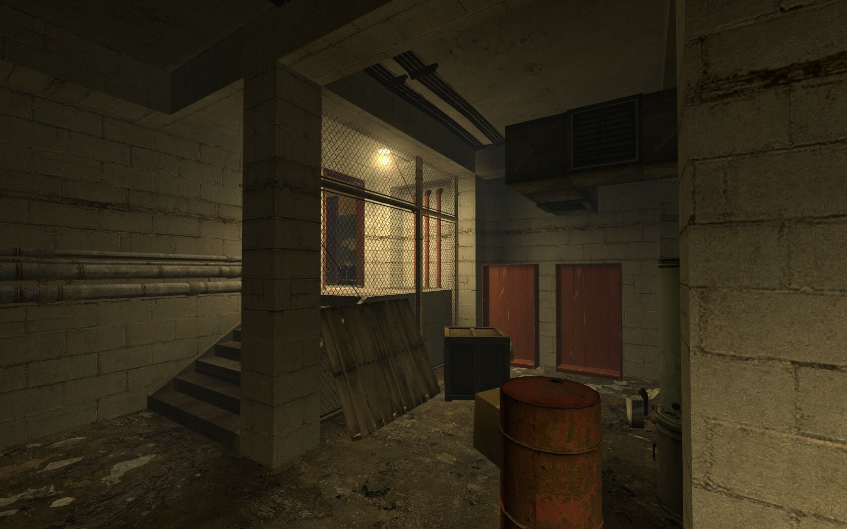 The player has to move through this room at a fast pace so a light has been placed next to the exit to help guide the player out of the area.