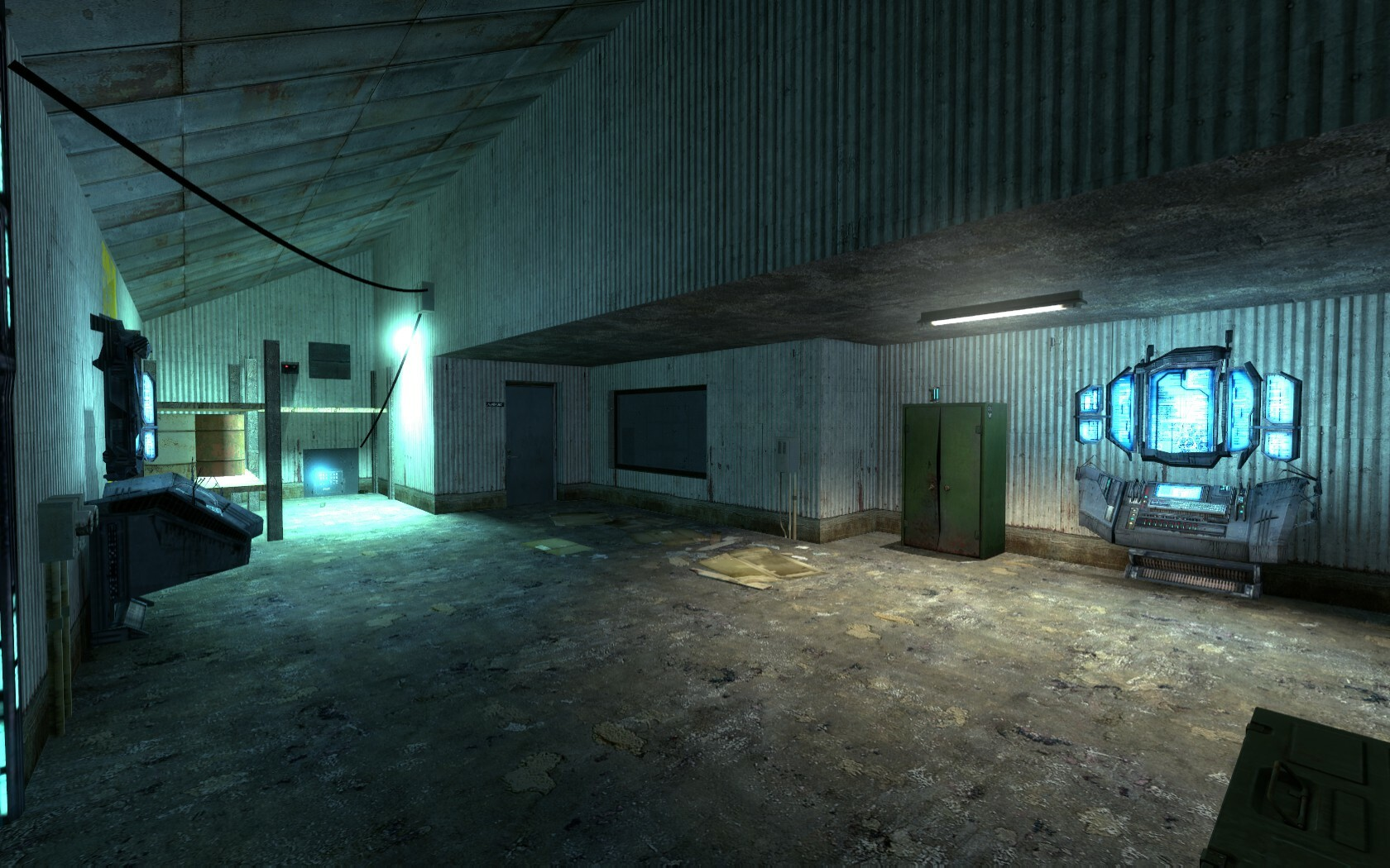 The puzzle in this room has been highlighted with a bright blue light. The players attention will be drawn here when looking around.
