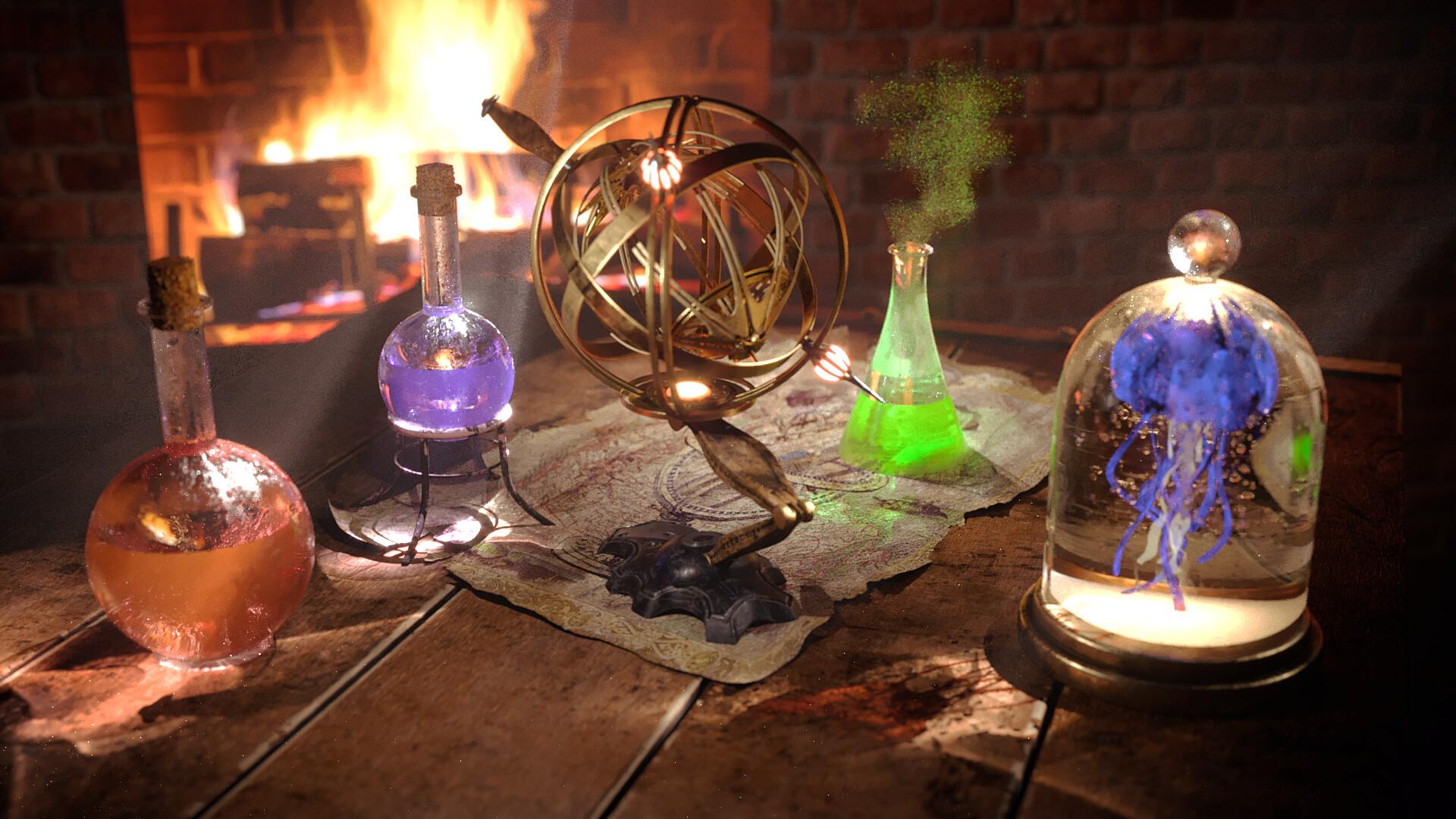 Картинка алхимической лаборатории