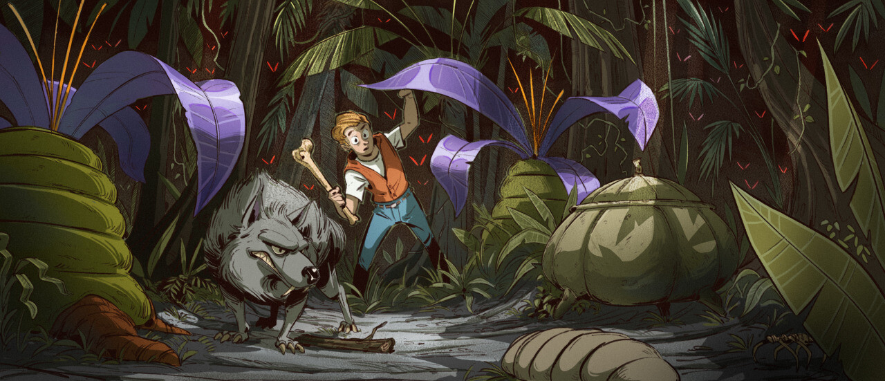 Secret of Evermore fan-art: arrival in prehistoric era.