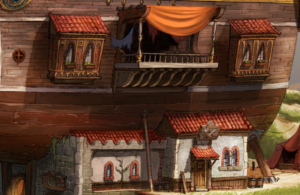 """Close-up of """"Cornelia's docks"""""""