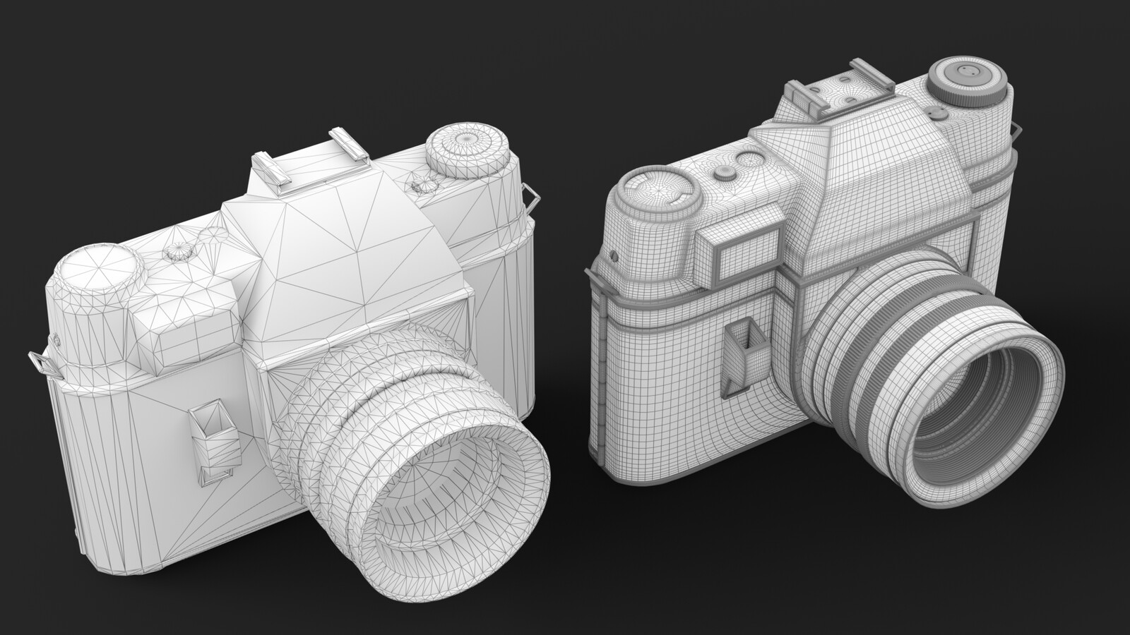Low poly and high poly wireframes
