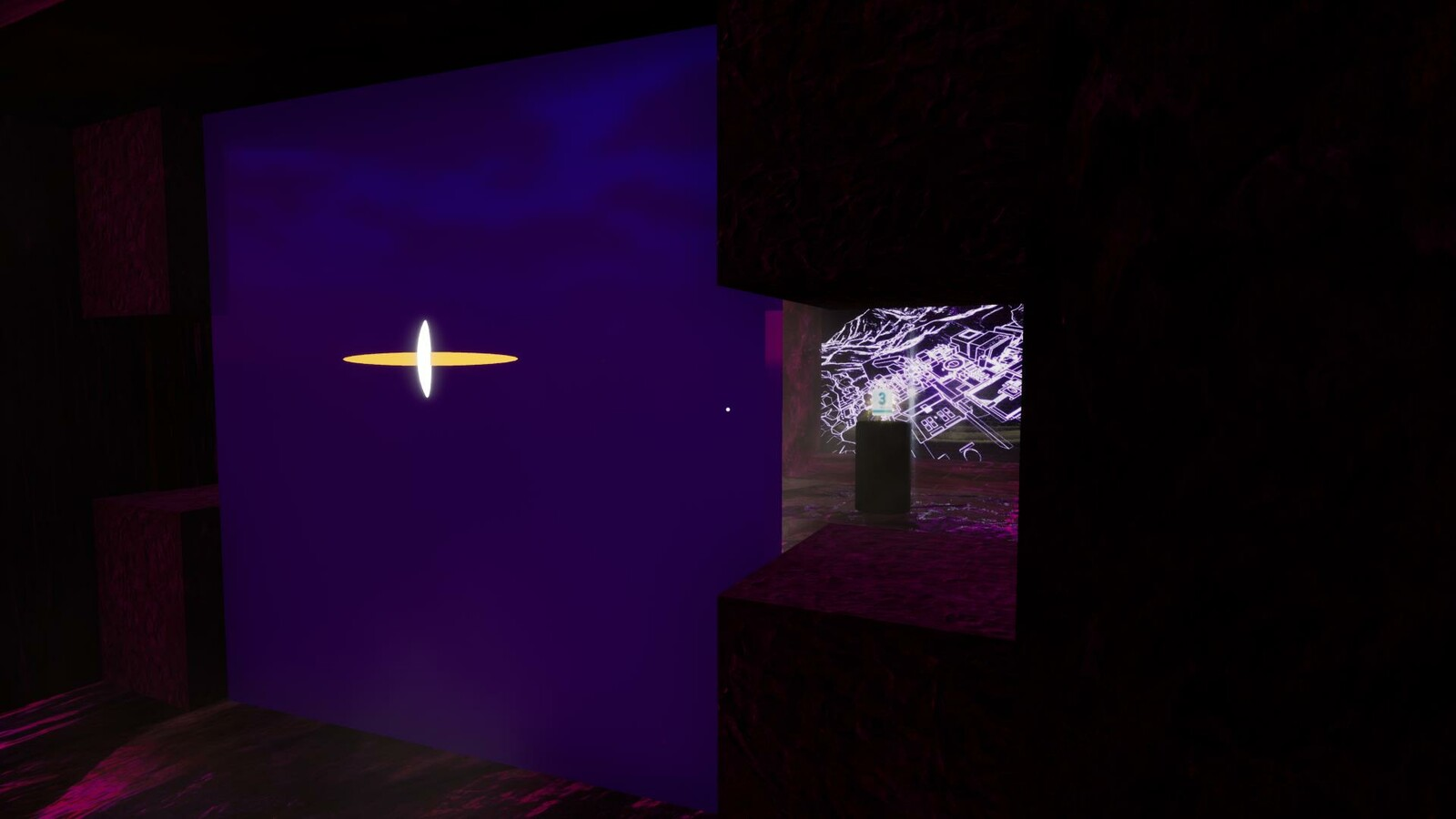 Downstairs in the Level Design Shrine, the player can see the 3D modeling software they will need to complete parts of the game but they cannot activate it without enough ideas.