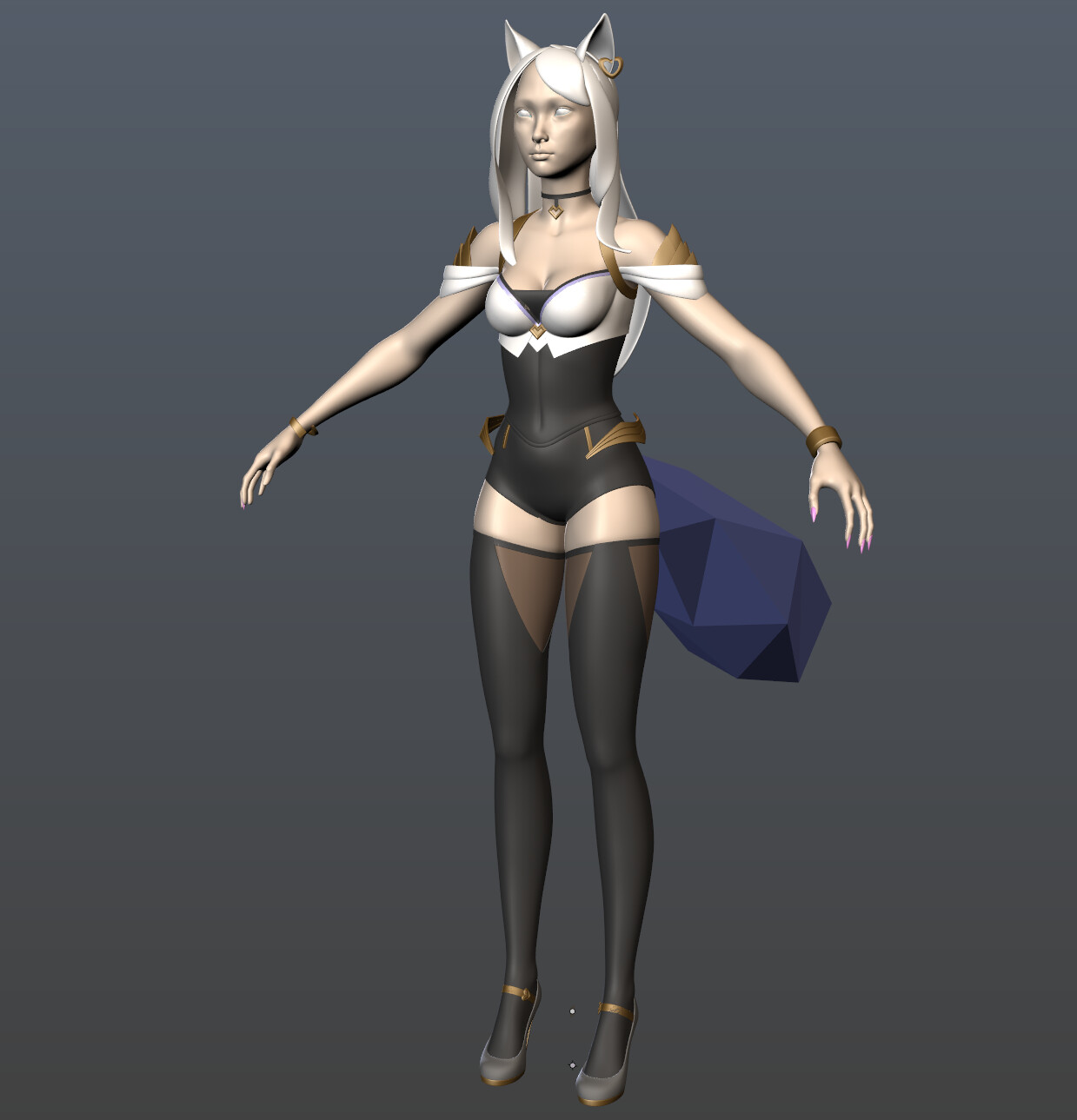 First Ahri clothing pass, blocking out accessories, ensuring nothing was missing.