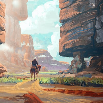 Travis lacey canyon cowboy travis lacey concept art painting maysketchaday 2019 web