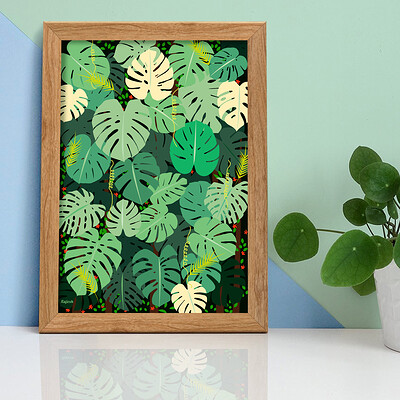 Rajesh r sawant frame with plant leafs artwork