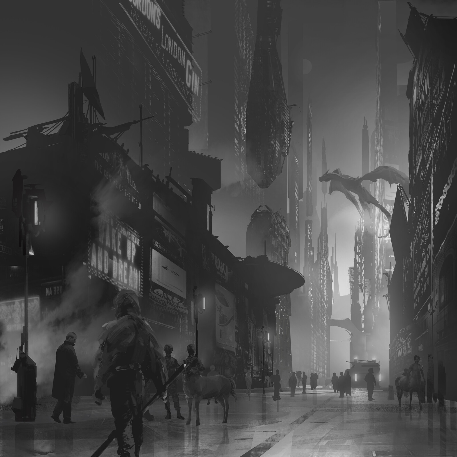 London future street with mythic animals, sci-fi look,
