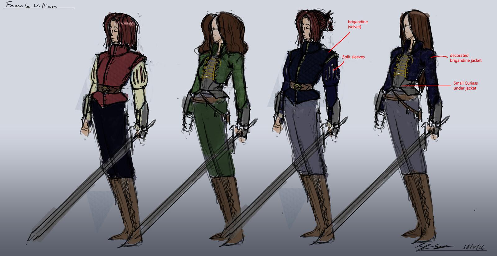 Rough ideas for female villain
