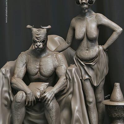 Surajit sen couple concept characters digital sculpting surajitsen mauy 2019