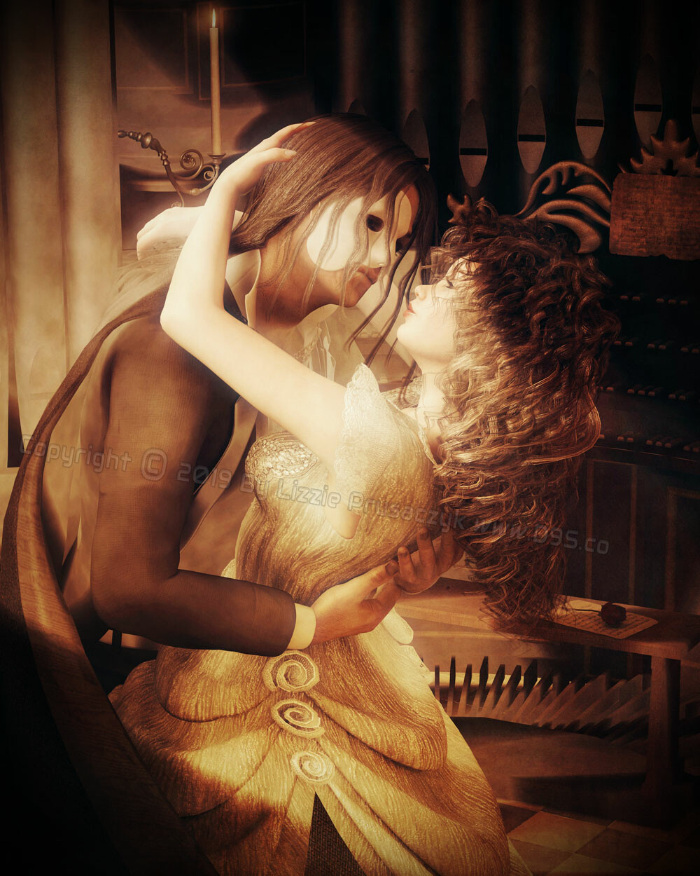 A romantic artwork inspired by the Phantom of the Opera.