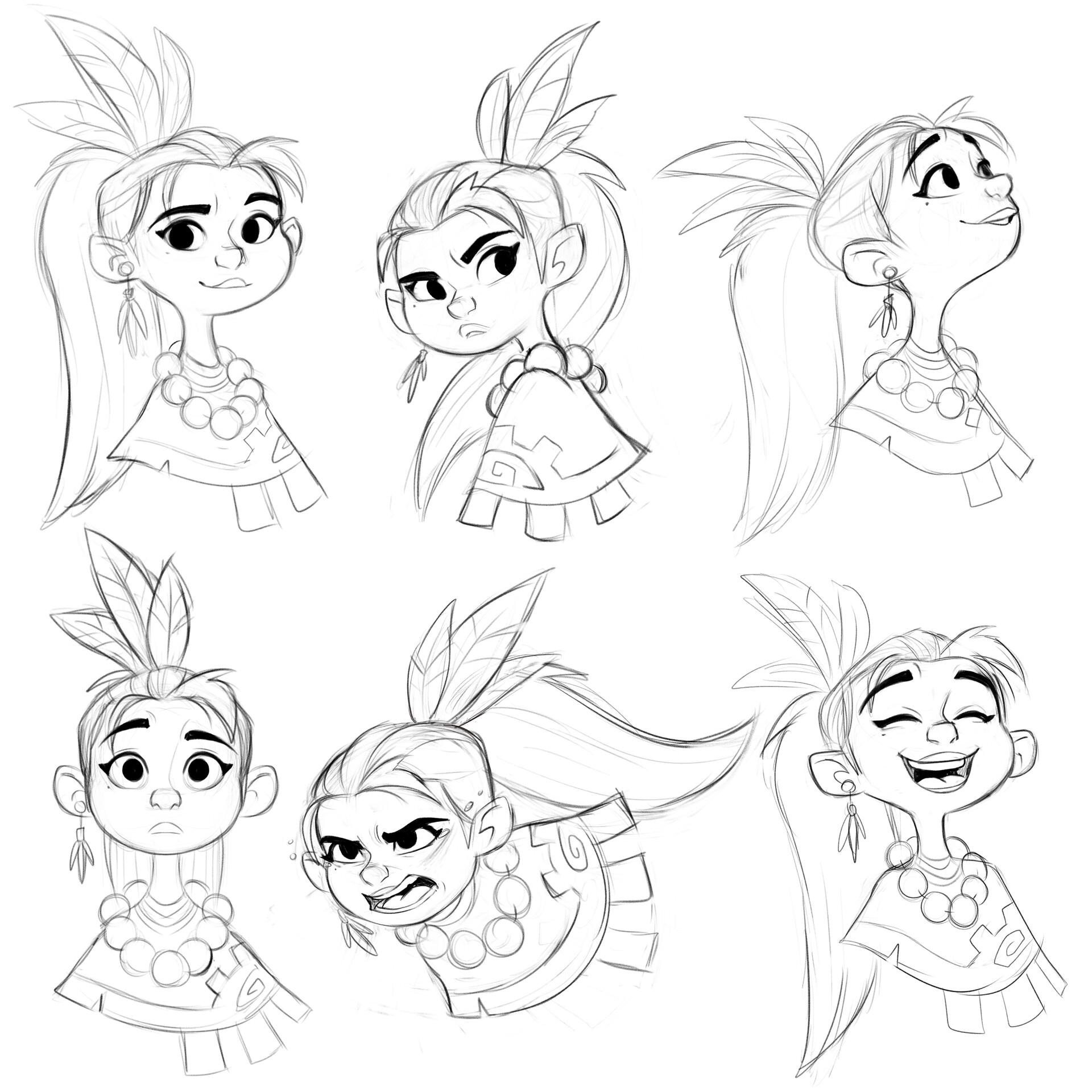 Luigi lucarelli tribal girl expressions sketches