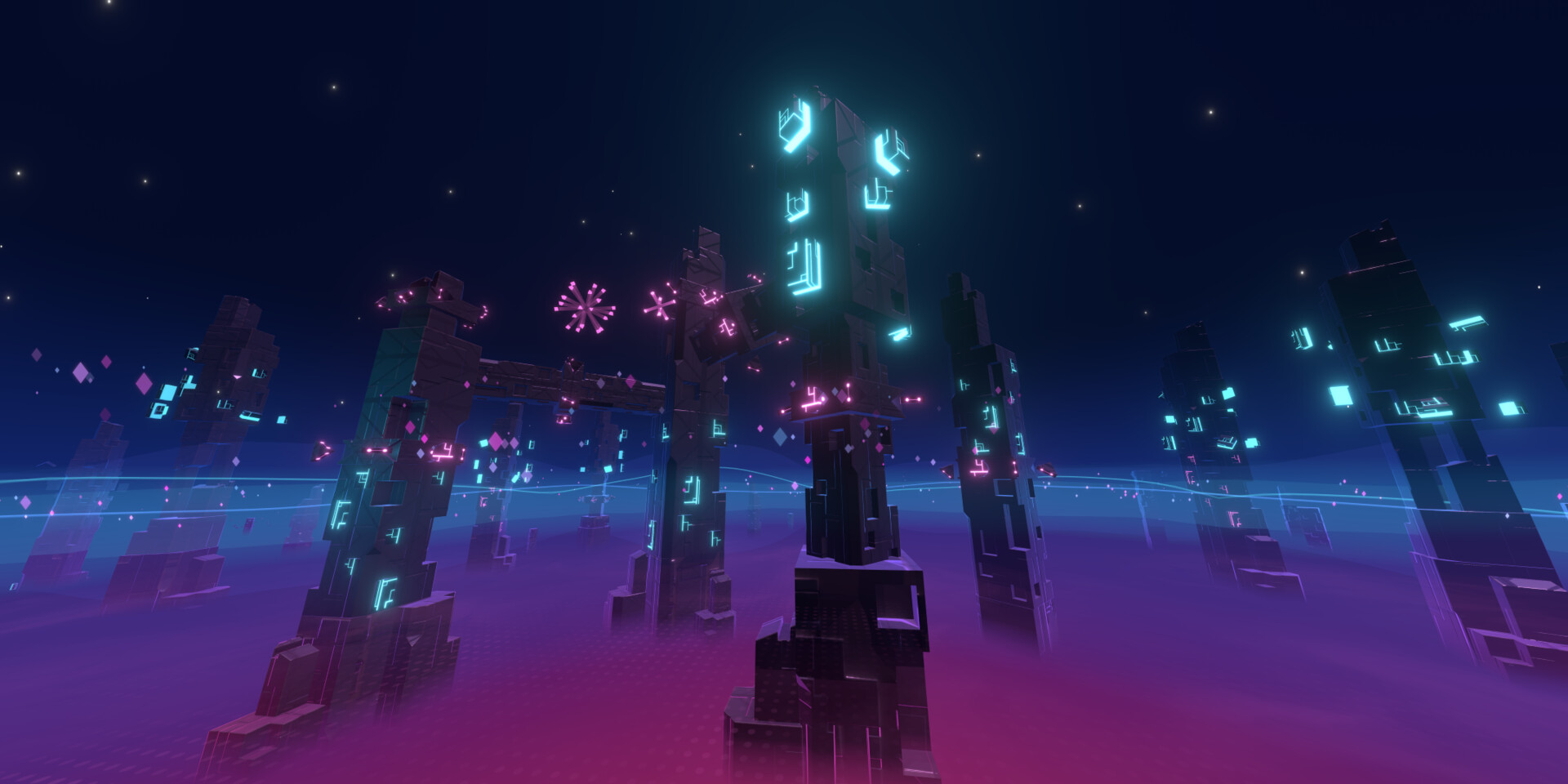 Environment pillars which animate and interact based on the music