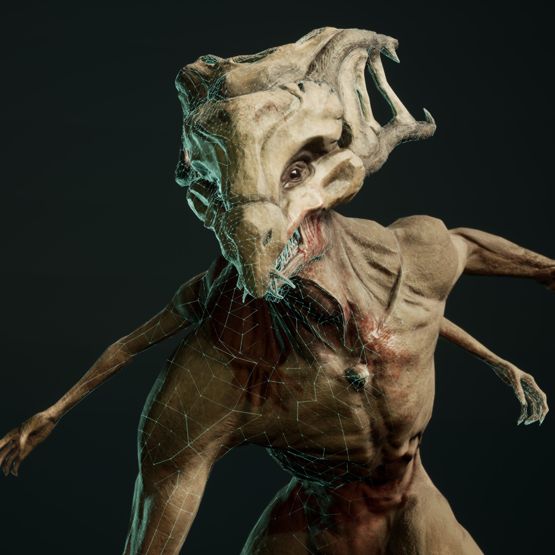 The base model was sculpted using Zbrush, and retopologized using TopoGun.