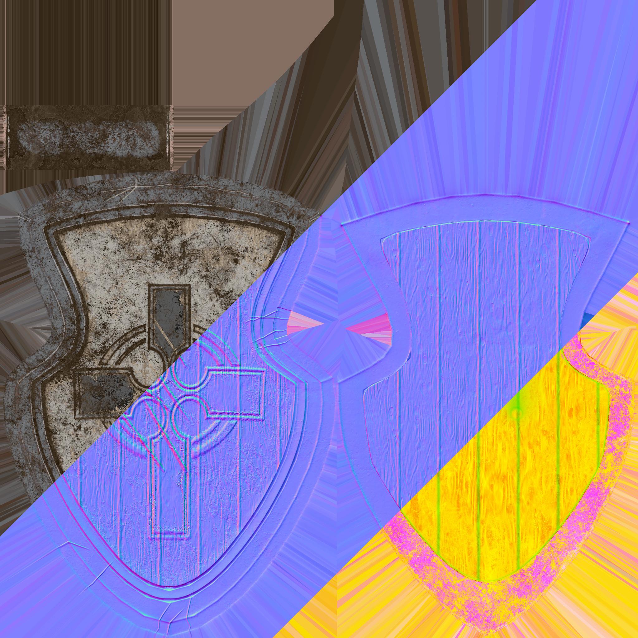 Shield Maps (Base Color, Normals, AO-Roughness-Metallic).