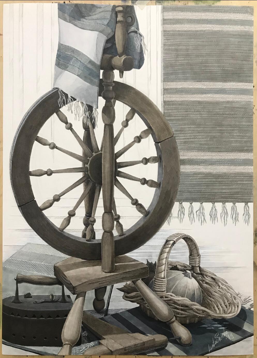 Artstation Still Life Old Spinning Wheel Olga Esina