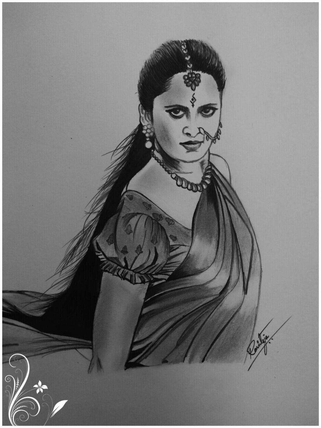 Ravi Teja   Indian Actress Anushka shetty pencil drawing