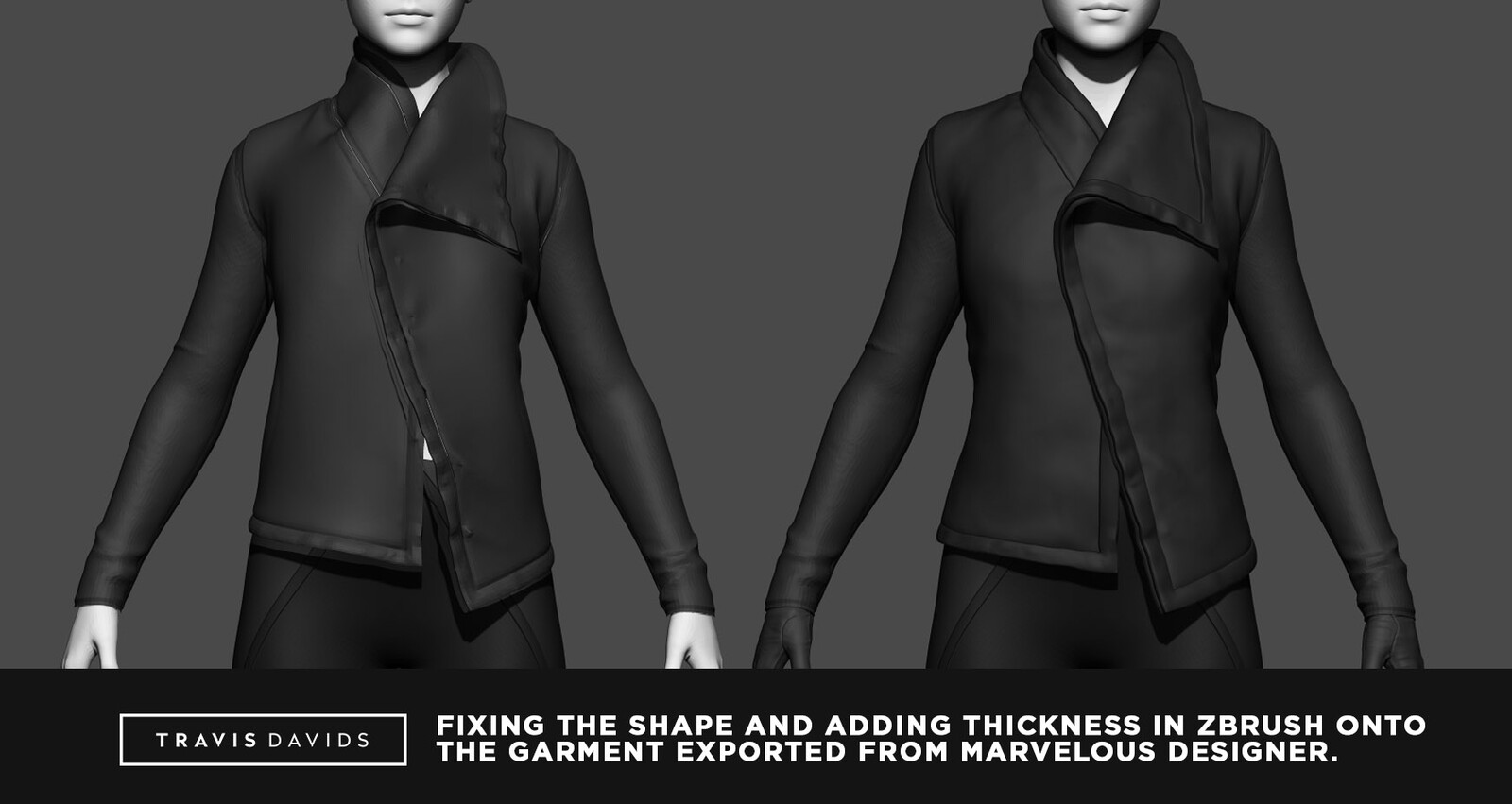 Zbrush plays a very important role in finalizing garments and fixing shapes that would be too difficult to simulate with MD. I also add thickness to my garment in Zbrush instead of MD.