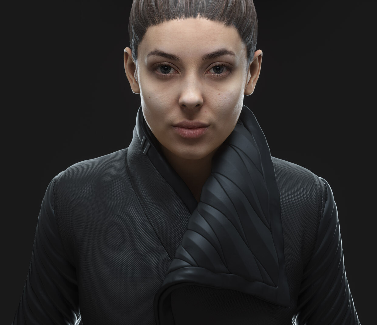 Elana wearing the Cyberpunk Jacket with a Sleeve Variant.