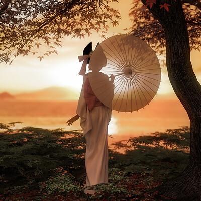 Owakulukem clevis sunset kimono