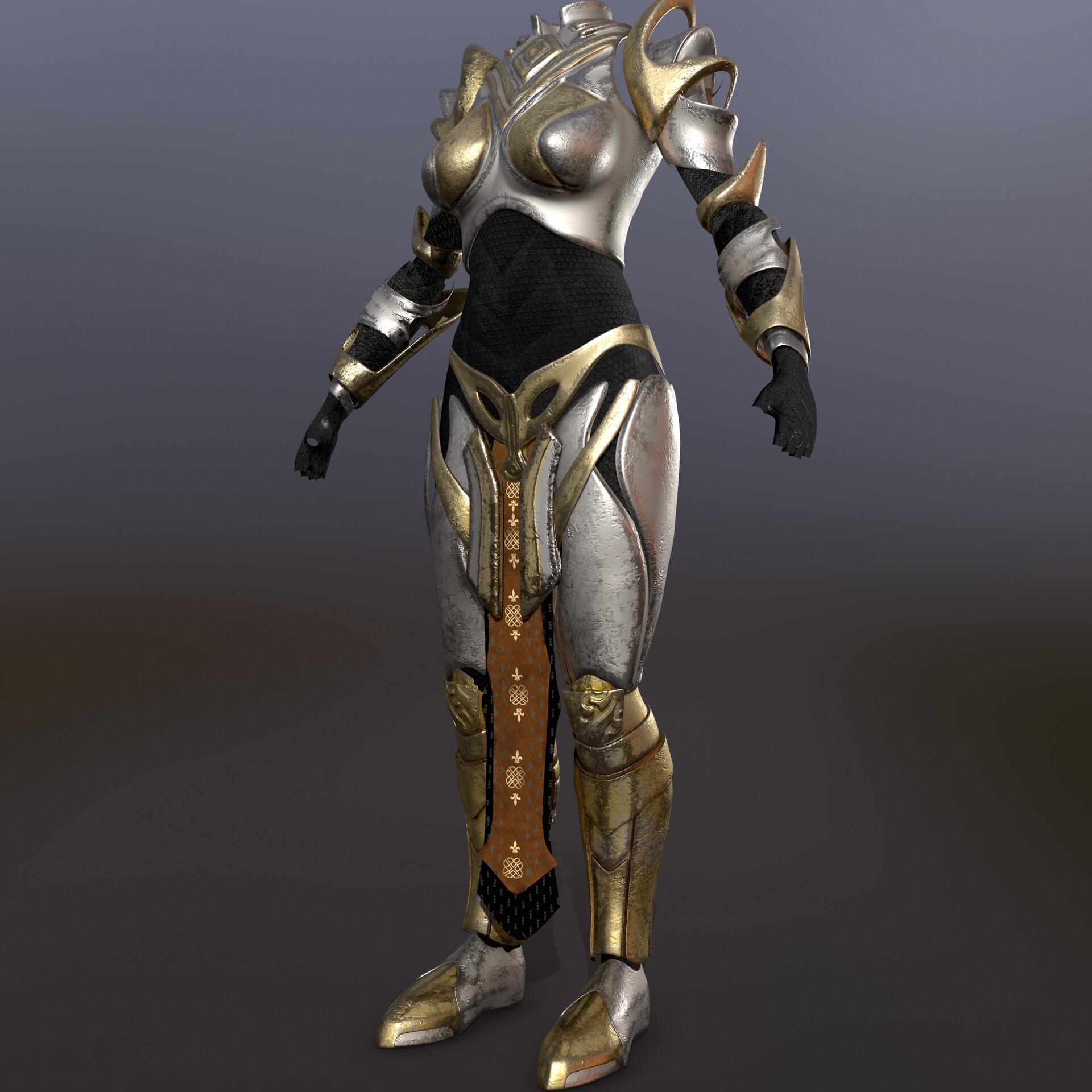 ArtStation - Full heavy armor for Warrior female character V