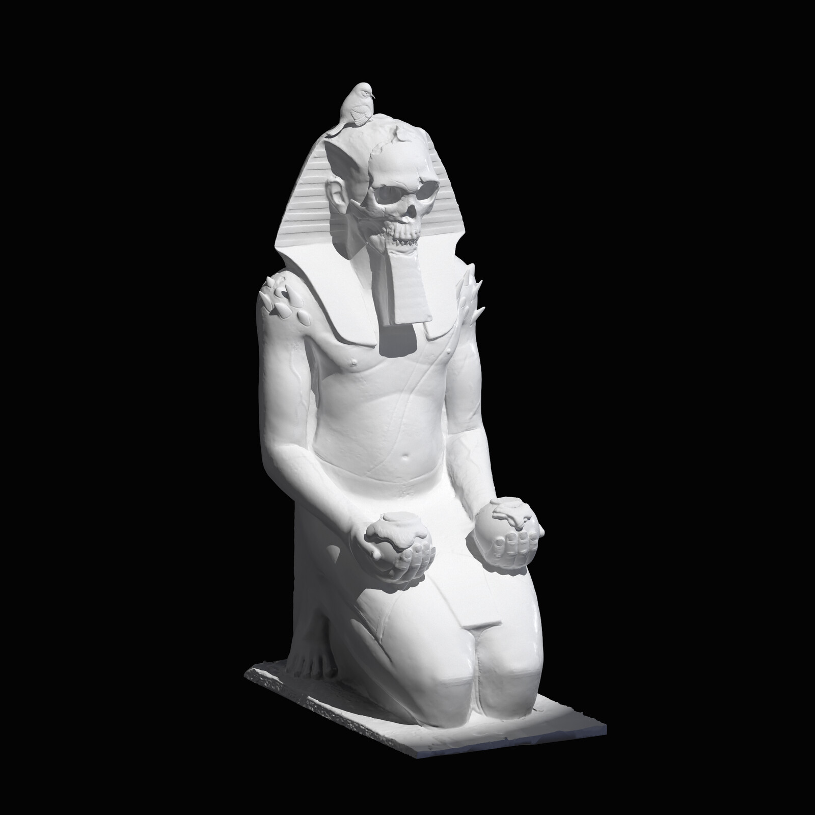 Hatshepsut kneeling with gold and bird concept