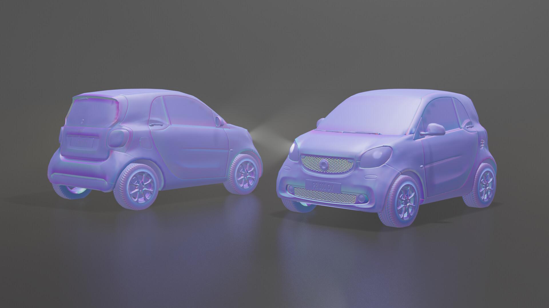 Artstation Low Poly Car Smart Fortwo In Blender Eevee Simone