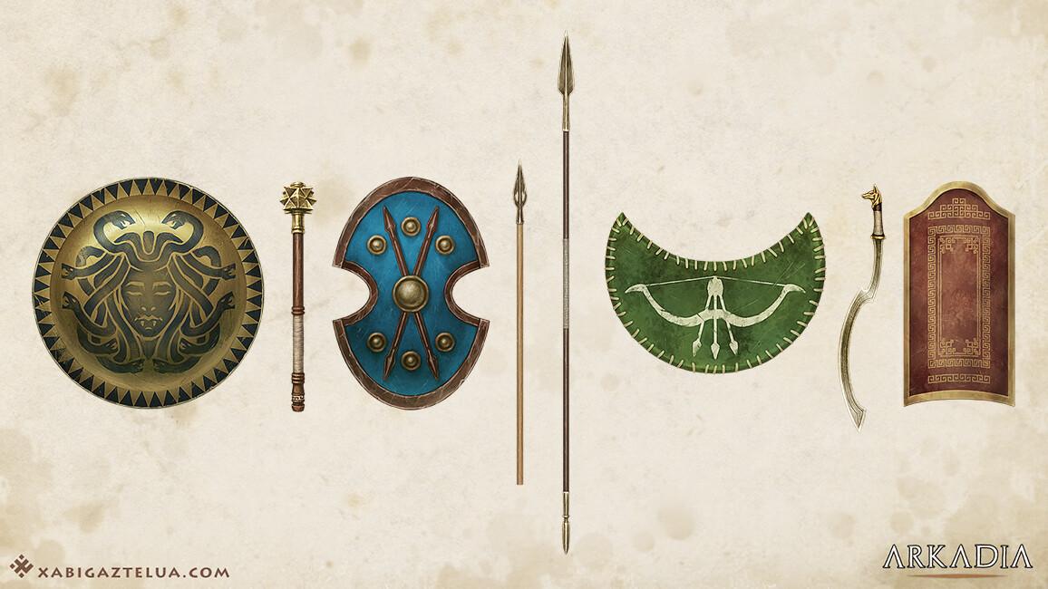 Xabi gaztelua weapons and shields