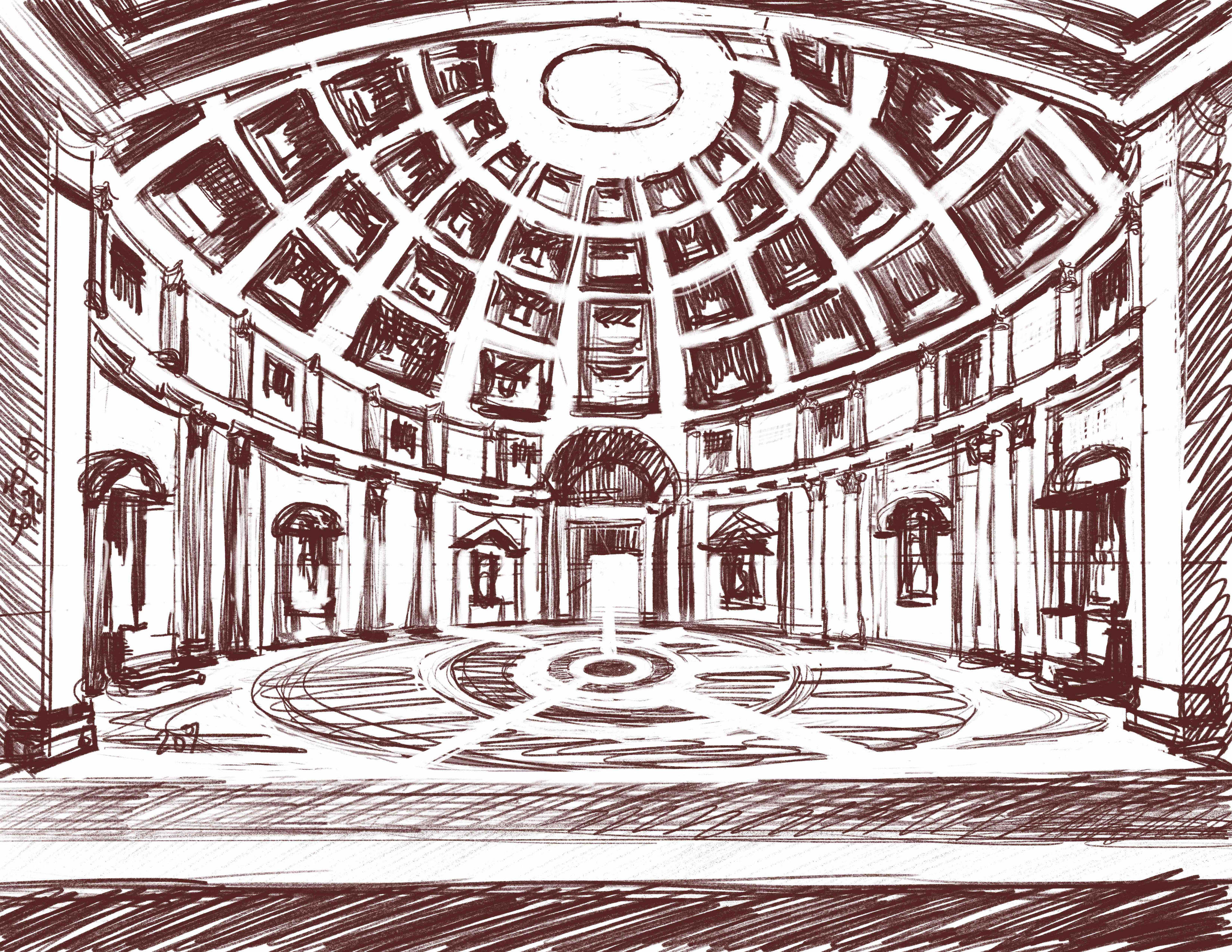 Light and Dark structure for the background drawing of the Italian architecture. Necessary for production.