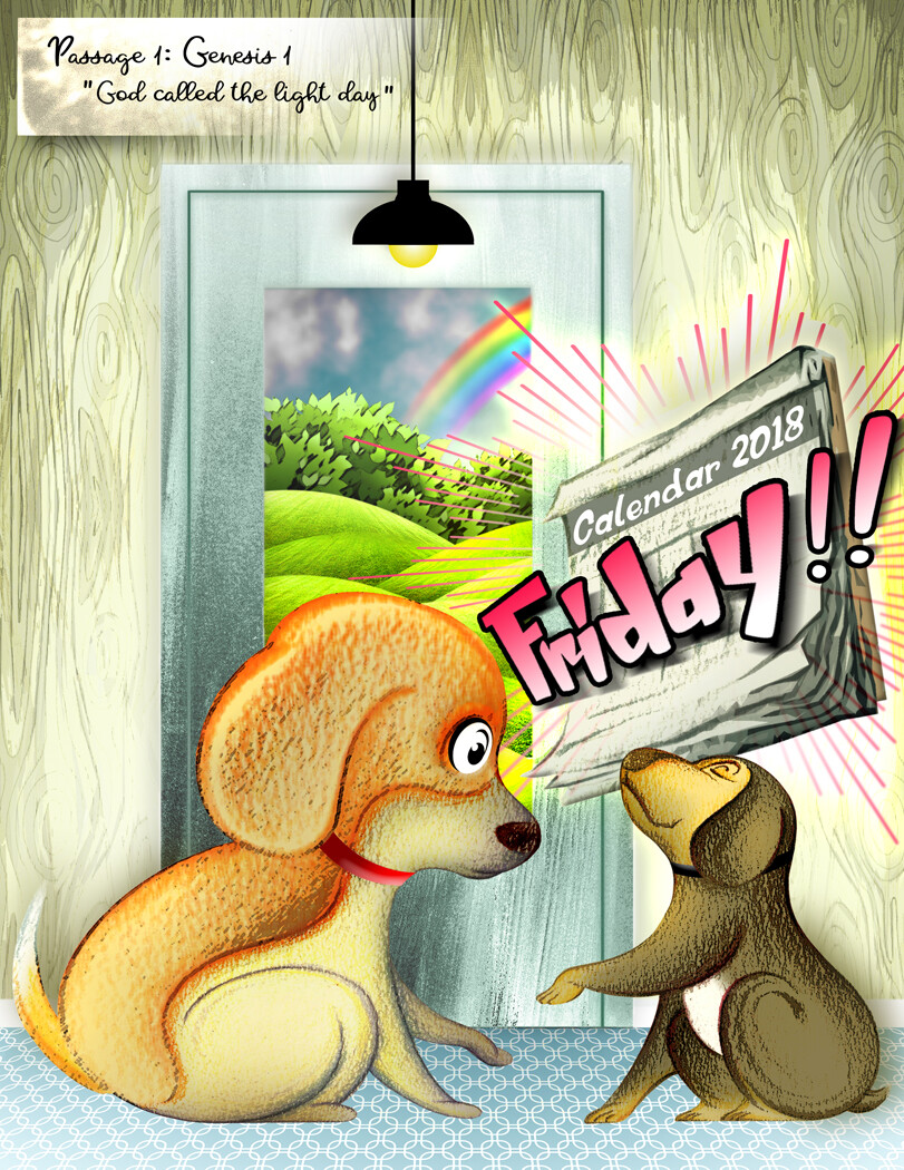 Colored pencil illustration and digital artwork for 'A Tale From A Foxhound Beagle Named Bailey: Are We Going To The Lake?', a children's book written and published by award-winning author Kristina Dreisbach.