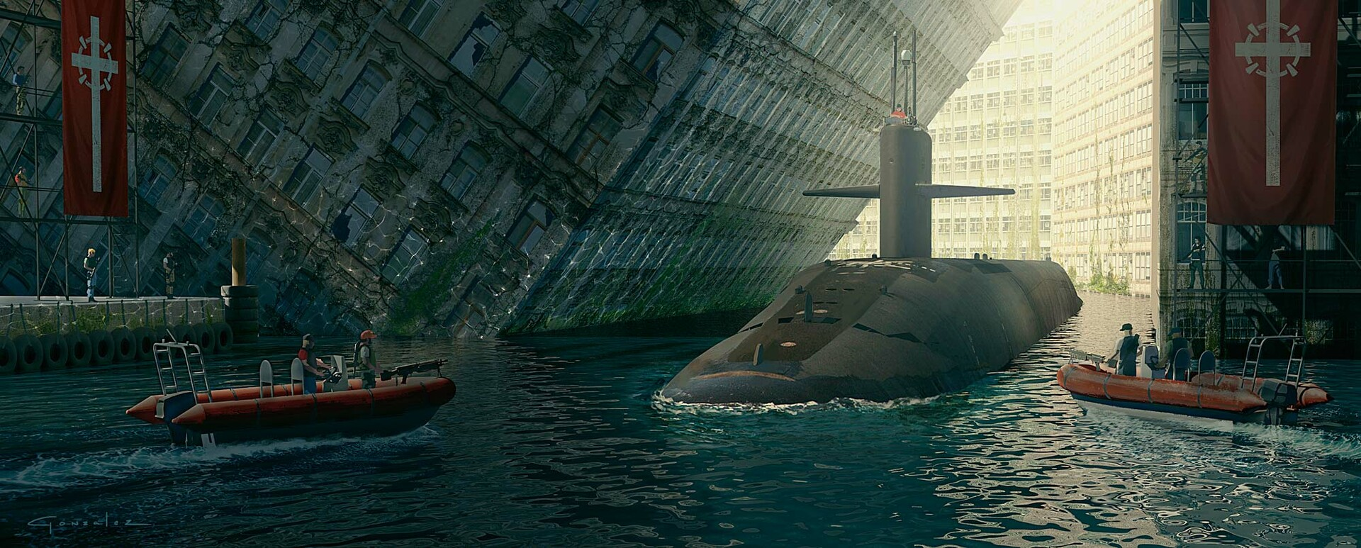 A submarine enters the base for resupply and rearming. The crew was on a recon mission.