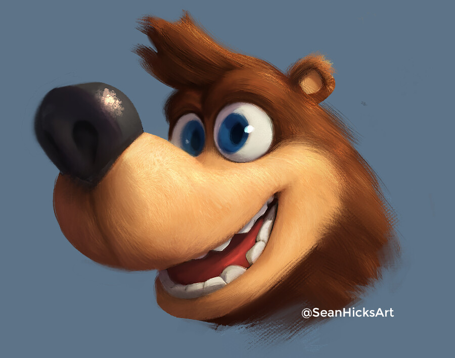 Banjo's fur in a more realism + stylized art direction. This time the tan parts of the design act as a fur discoloration- similar to some bears.