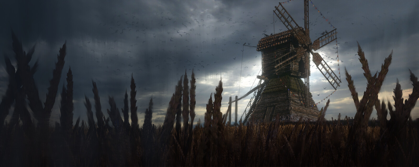 Windmill in Stormy Weather