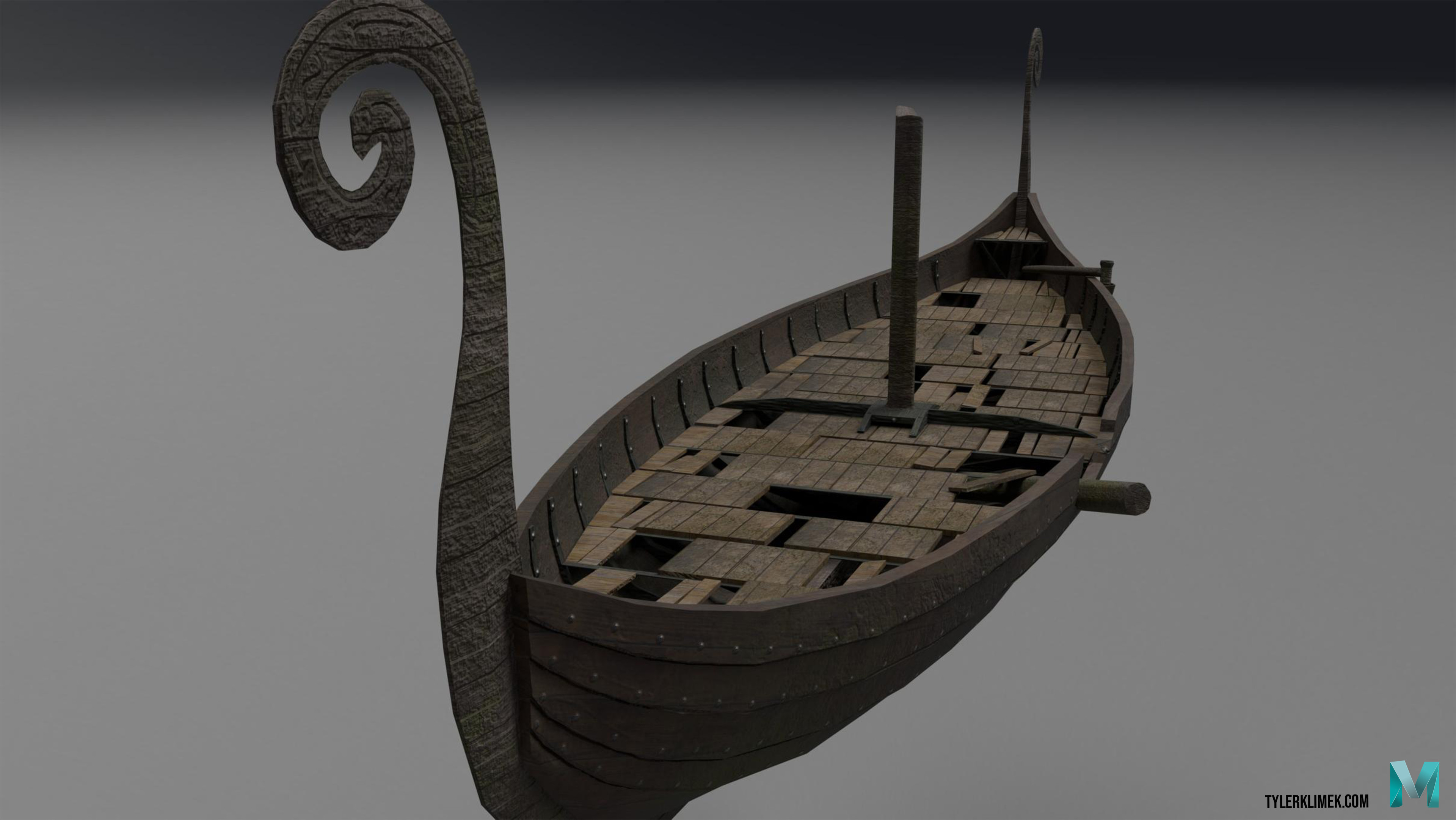 The long-ship was modeled in Maya and textured with Substance painter.