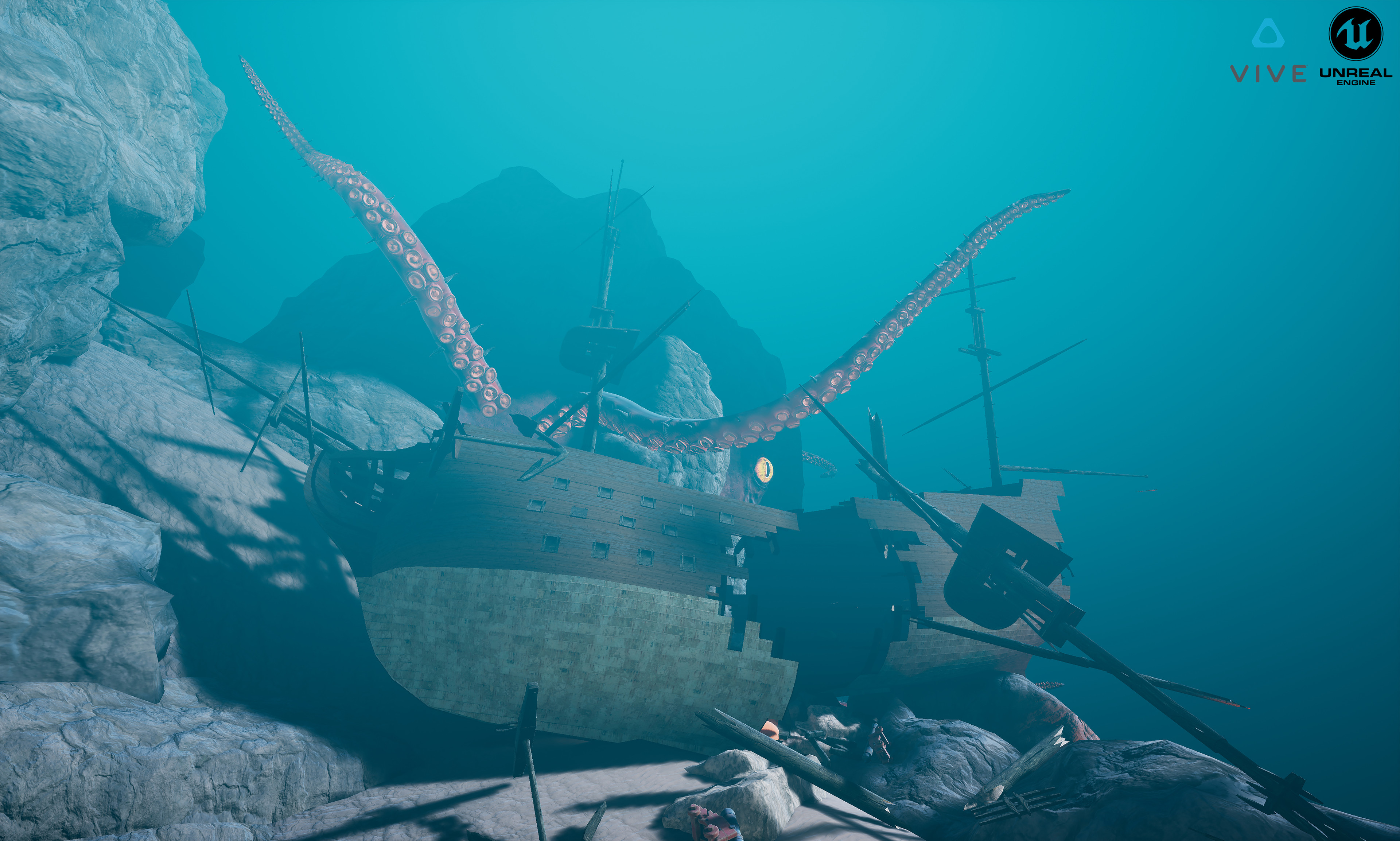 An in-engine environment screenshot of the gryphon being attacked by a giant octopus