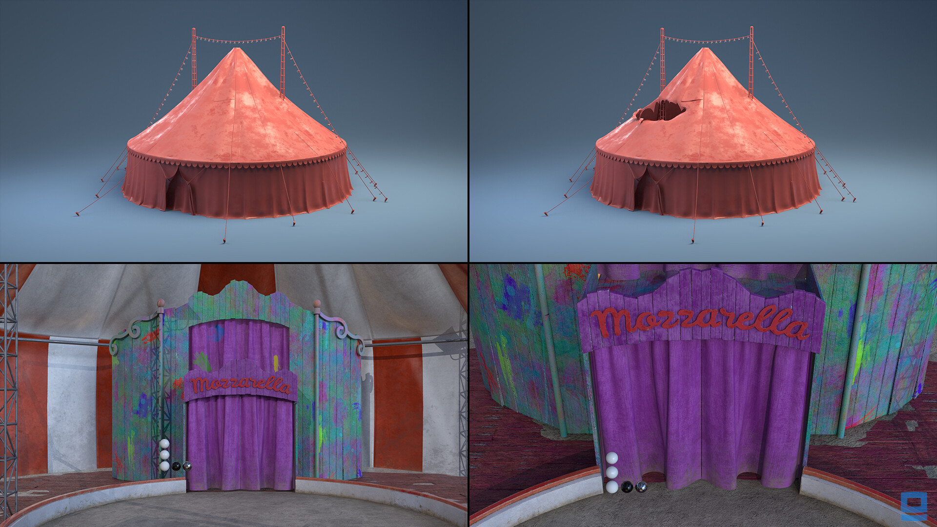 Responsible for modeling: Circus tent Lookdev: Interior tent