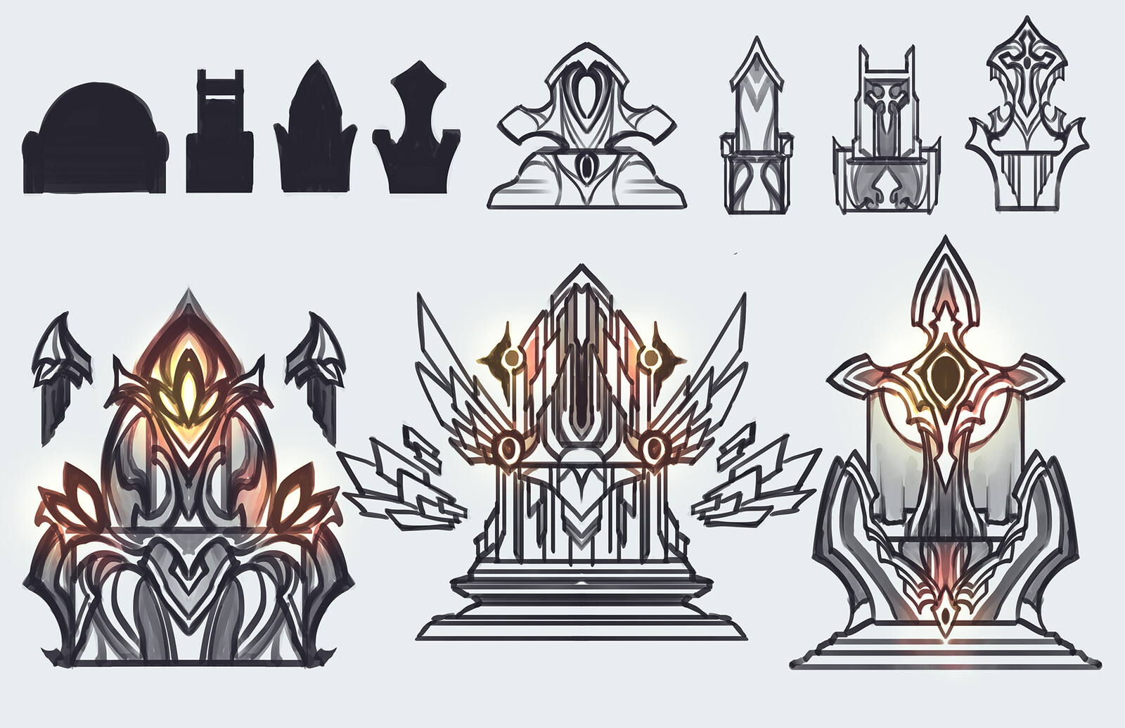 Sketch sheet for the throne. Wanted to stick with art deco geometry while balancing that with symbology of the Eclipse/stars. It was also the last item i designed so it was challenging finding its own color identity among the other props.