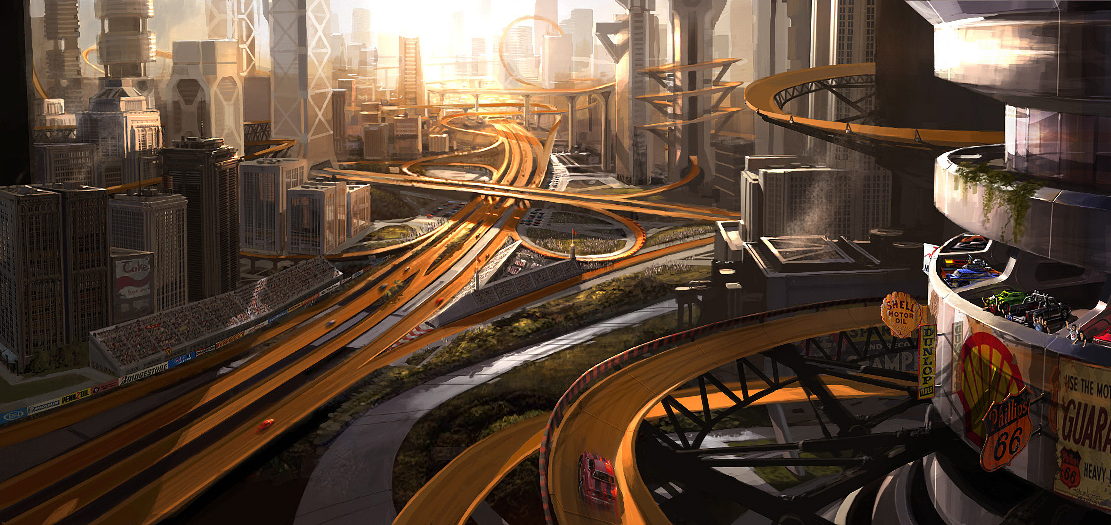 An overview of Motor City. This image was a test to see how the orange tracks would work in an urban setting.