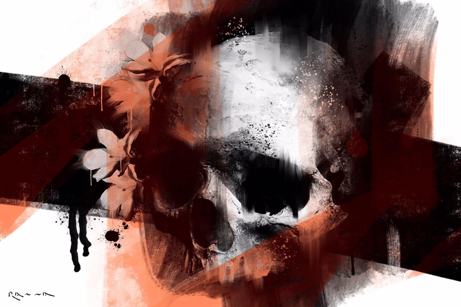 Schädel und Blumen 02